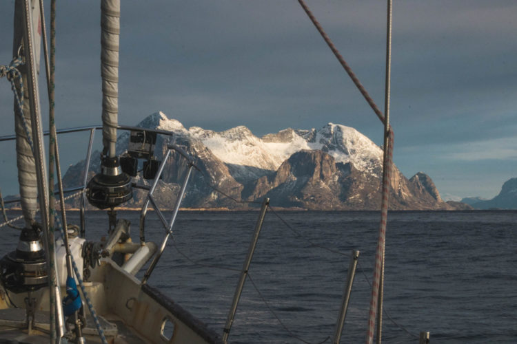 view mountains from sailboat lofoten norway